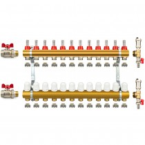 Messing Verteiler Fußbodenheizung 50 - komplett (PEX adapter, Entlüftungsset, Kugelhahn 1'')