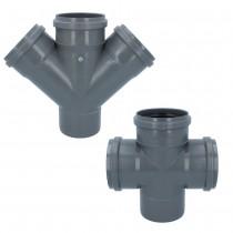 Abwasser Kreuzstück Grau 110 mm